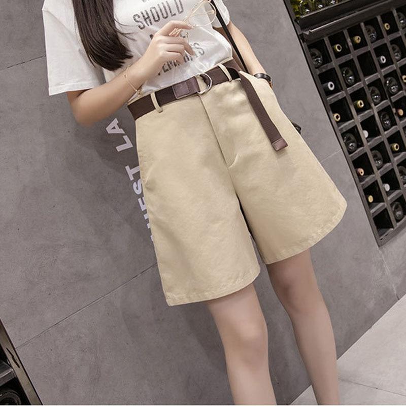 2019 Summer Women's Wide Leg High Waist Cargo Shorts  Version Of The Belt Large Size Student Shorts Harajuku Wind Tooling Shorts