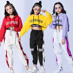 Jazz Dance Costumes Hip Hop Kids Long Sleeve Hooded Top Vest Pants Girls Hiphop Clothes Street Dance Stage Show Wear