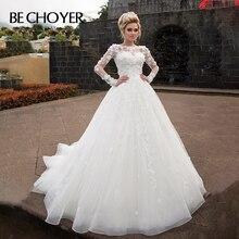 Fashion Detachable 2 In 1 Wedding Dress BECHOYER N238 Appliques A Line 3D Flower Princess Bride Gown Customized Vestido de Noiva
