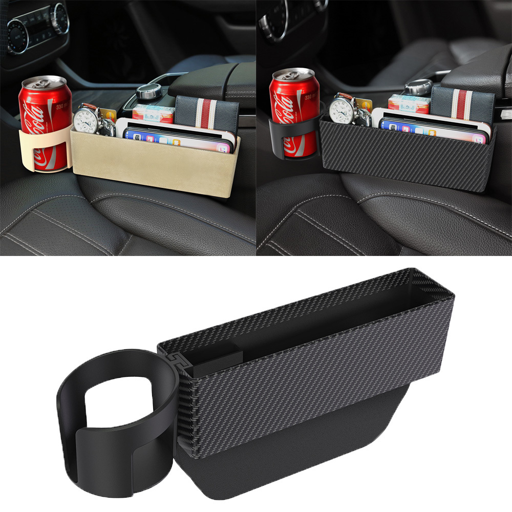 Car Seat Crevice Storage Box Slot Multi-function Organizer Car Foldable Quilted Cup Holder Car Interior Accessories Car Storage