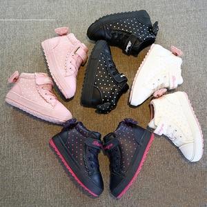 Image 3 - Kids Winter Shoes For Girl Children boots Boys Warm 2019 New baby Shoes Plus Velvet Toddler Winter Boots Girl botas pink sneaker