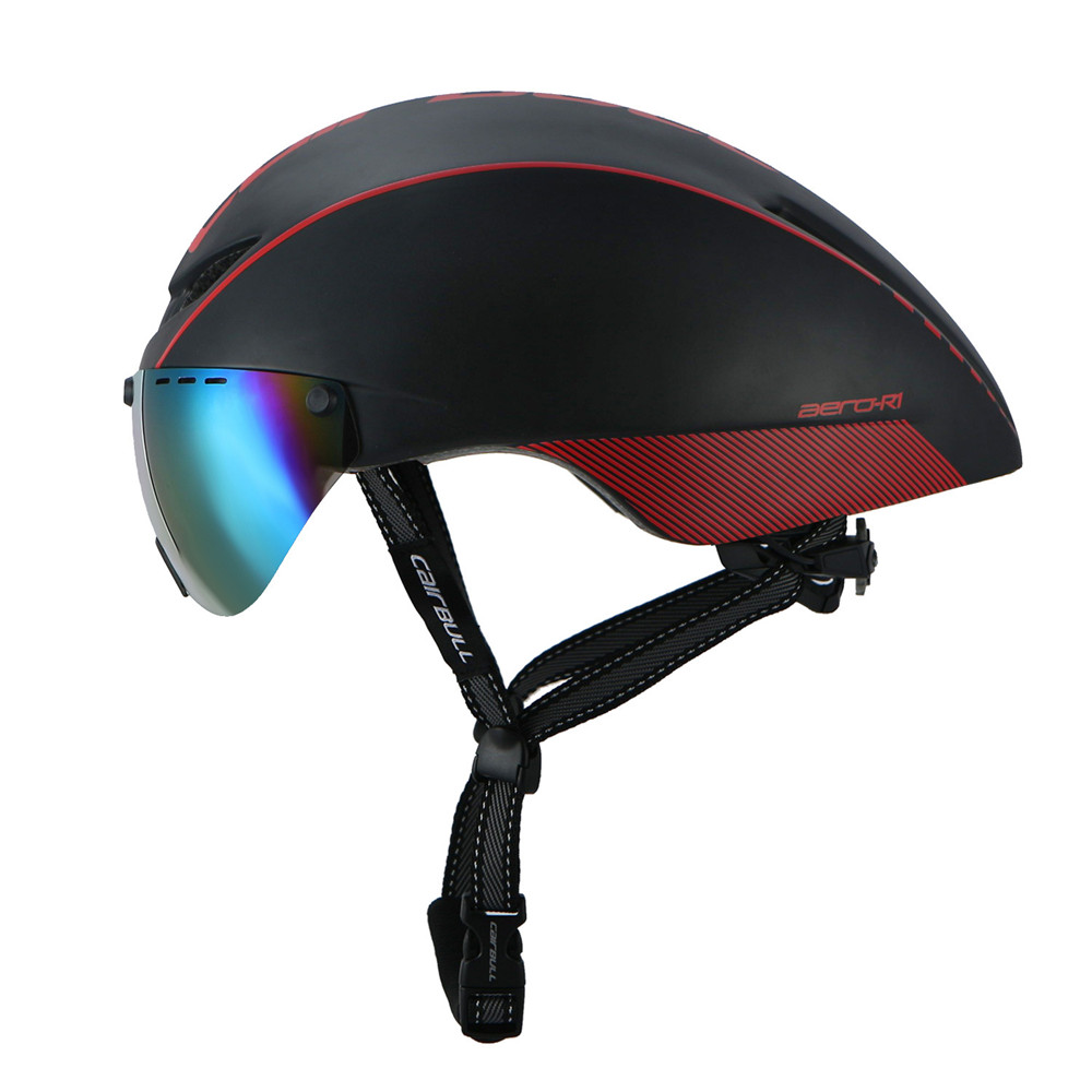 Integrally-molded Bicycle Helmet Racing Safety Helmet Bike with Magnetic Goggles Mountain Road Cycling Helmet EPS M/L 54-60CM