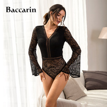 цена на Trumpet sleeve Lace Bodysuit Women Deep V neck Sexy Bodysuit See Through Black Bodysuit Jumpsuit Overalls Streetwear