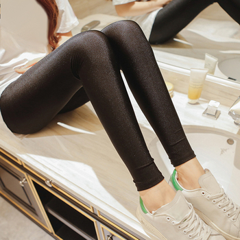 Hot Selling Women Solid Color Fluorescent Shiny Pant Leggings Large Size Spandex Elasticity Casual Trousers For Girl 1