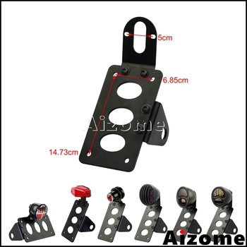 Motorcycle Stop Lamp License Plate Bracket Side Mount Tail Light Holder For Harley Cafe Racer Bobber Chopper w/ 3/4 Axles motorcycle accessories retro red rear tail brake stop light lamp license plate mount for harley honda suzuki chopper bobber