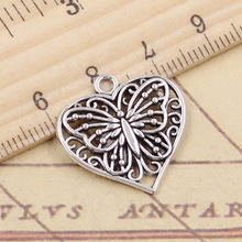 Charms Heart Pendants Jewelry-Making Handmade-Craft Tibetan Butterfly Silver-Color Antique