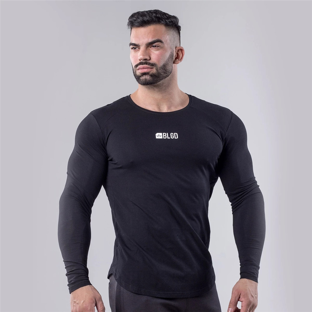 Cotton Long Sleeve Skinny T-shirt Men Gyms Fitness Bodybuilding Workout Shirt Male Casual Fashion Tee Tops Jogger Brand Clothing