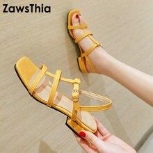 Zawsthia 2020 verão plutônio amarelo azul verde baixo saltos quadrados mulher sapatos bandagem cinta aberto dedo do pé sandálias gladiador tamanho grande 48 49