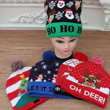 цена на Christmas decorations adult children knitted Christmas hats colorful light-emitting knitted hats high-grade Santa Claus hat