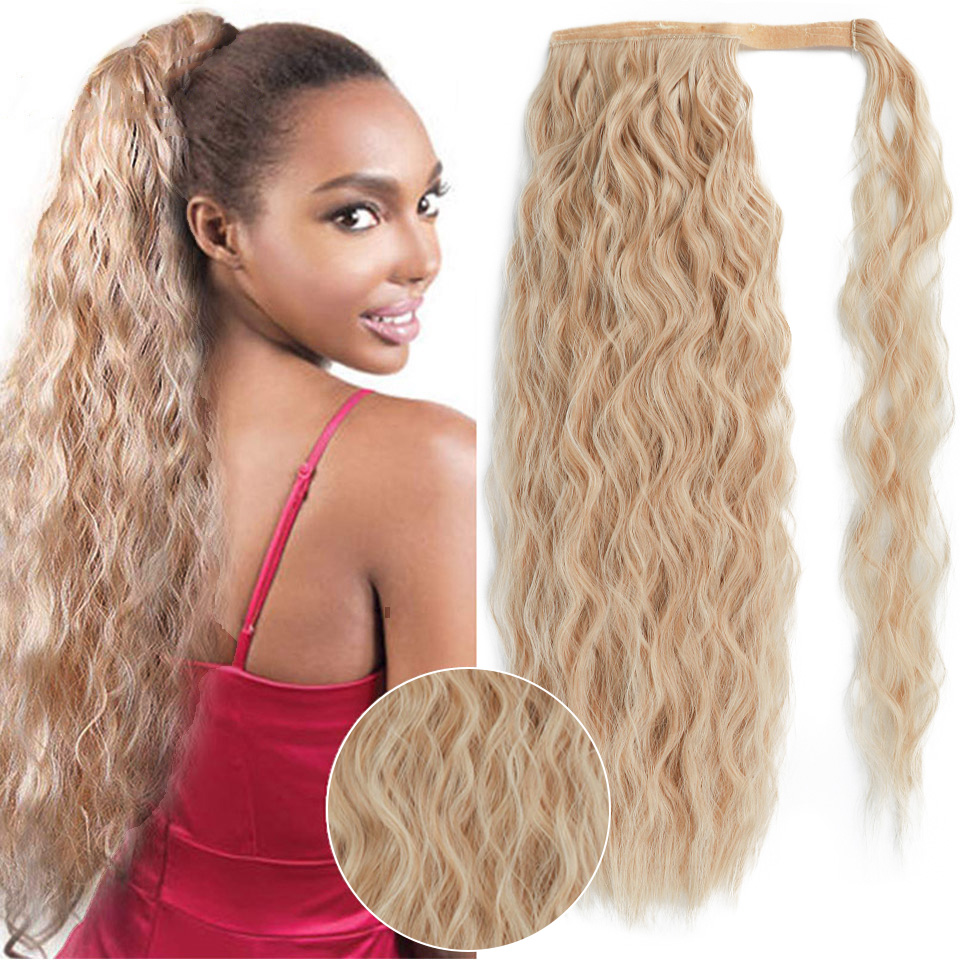 """ONYX  22"""" Curl Ponytail Wrap Around Clip In Ponytail Hair Extension Heat Resistant Synthetic Natural Curl Pony Tail Fake Hair"""