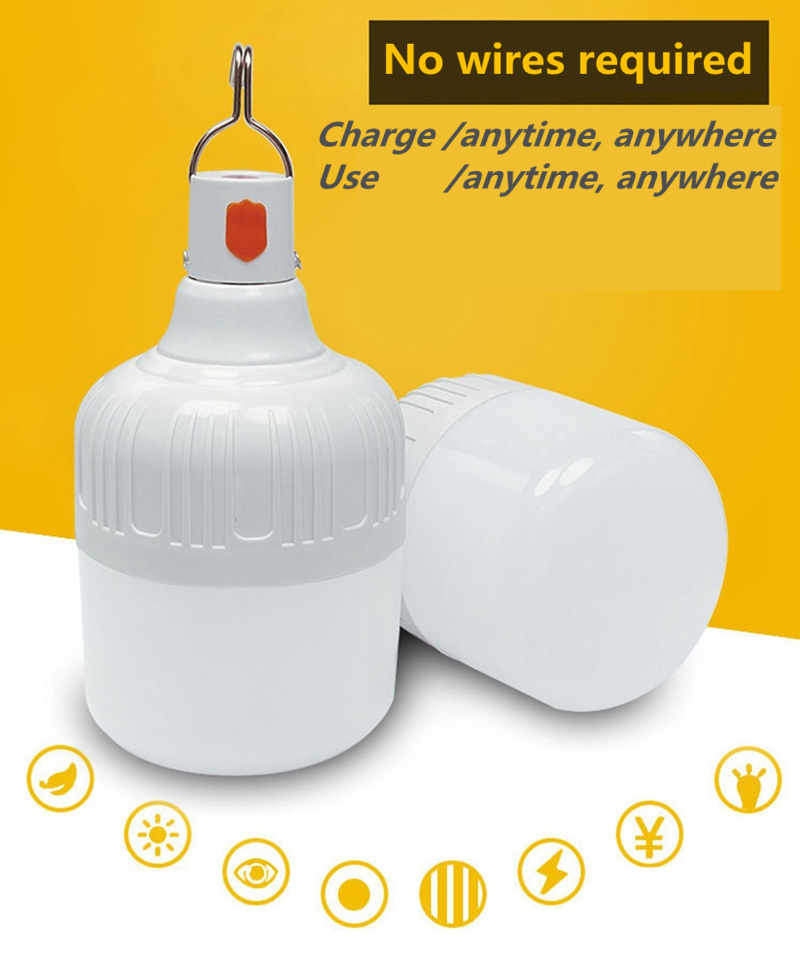 New LED <font><b>Emergency</b></font> <font><b>Light</b></font> <font><b>Bulb</b></font> 3 Mode Rechargeable Battery Lighting Lamp for Home Outdoor Camping Maintenance Night Market Stall image
