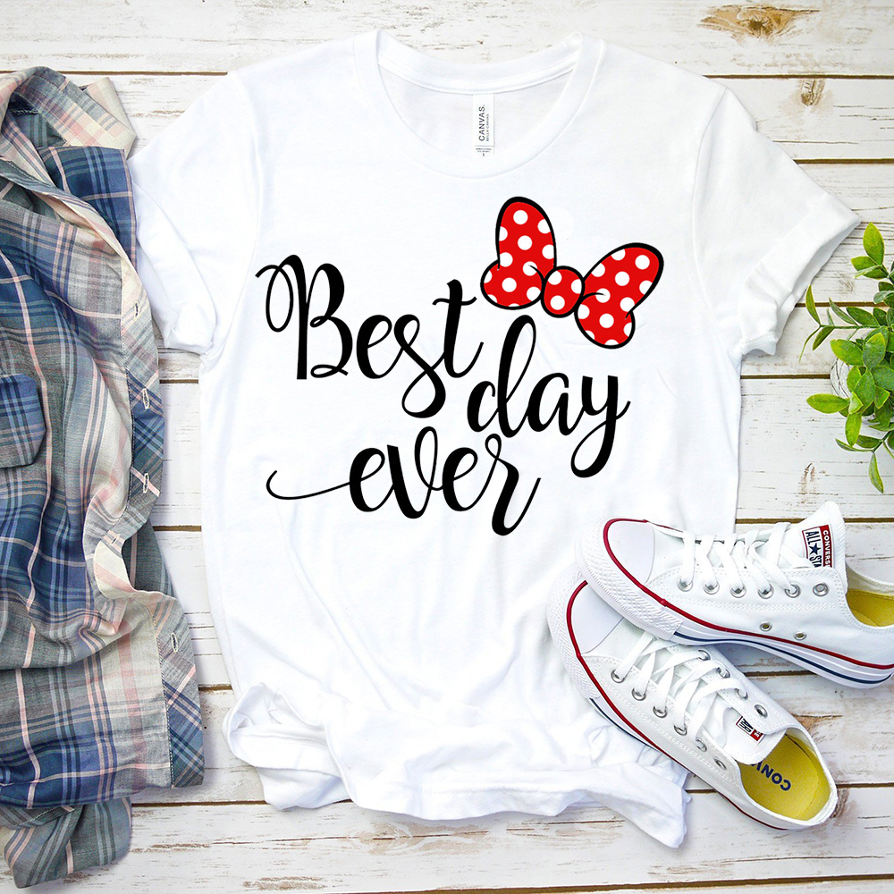 2020 New Summer Best Day Ever Minnie Micky Mouse Shirt Tumblr Graphic Hipster Matching T Shirt Cute Holiday Tees