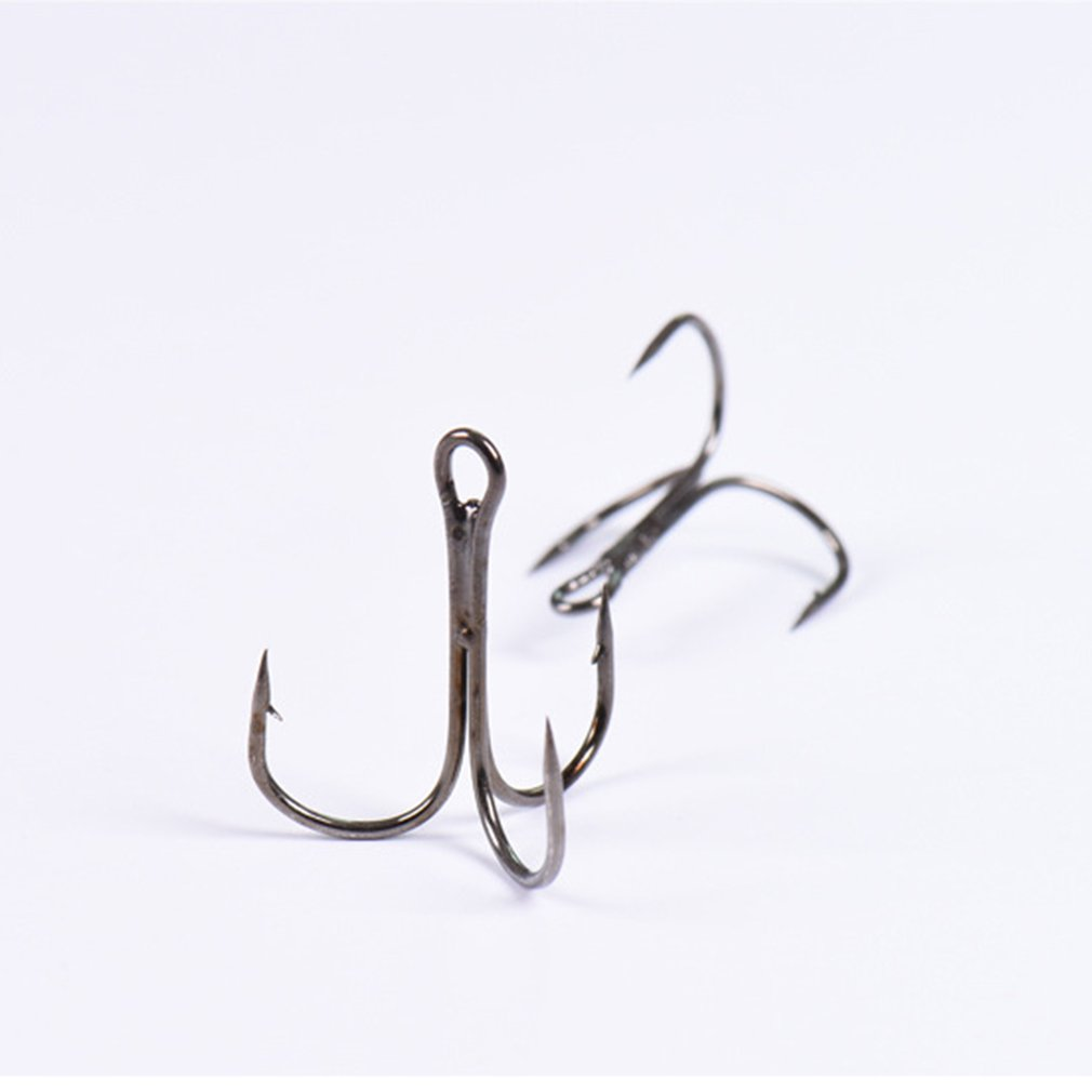 100pcs Lot Fish Fishing Sharpened Hooks Black Barb Lure Tackle Bait 12 Size Fish Hook Bend Treble Hooks Anchor Hook