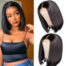 Bob Wig Short Brazilian Bone Straight Cheap Human Hair Wigs For Women Black Wig T Part Lace Bob Human Hair Wig Pre Plucked 5x5x1