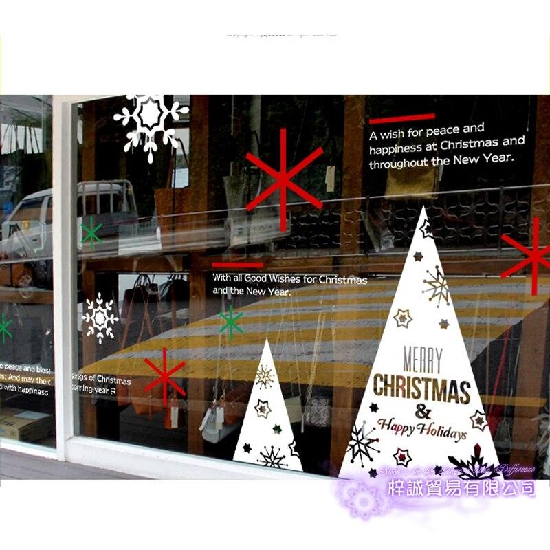 Grand autocollant de noël X mas décalcomanie affiches vinyle stickers muraux décor Mural verre boutique fenêtre décoration de la maison - 2