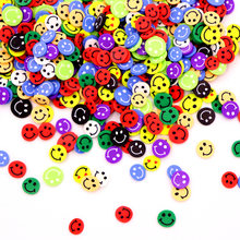 10 g/paket renkli gülen dilimleri balçık malzemeleri oyuncak polimer kil dilimleri takılar aksesuarları ekleme için kabarık net balçık