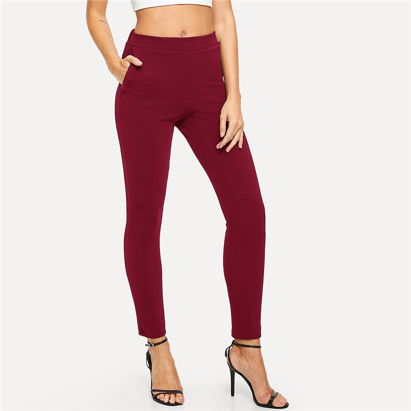 SHEIN Elastic Waist Mid Waist Skinny Trousers Autumn Office Lady Elegant Slim Fit Vertical Women Pencil Pants 14