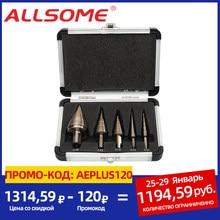 Allsome 5 pces metric/Polegada hss cobalto passo broca conjunto buraco múltiplo 50 tamanhos com caixa de alumínio