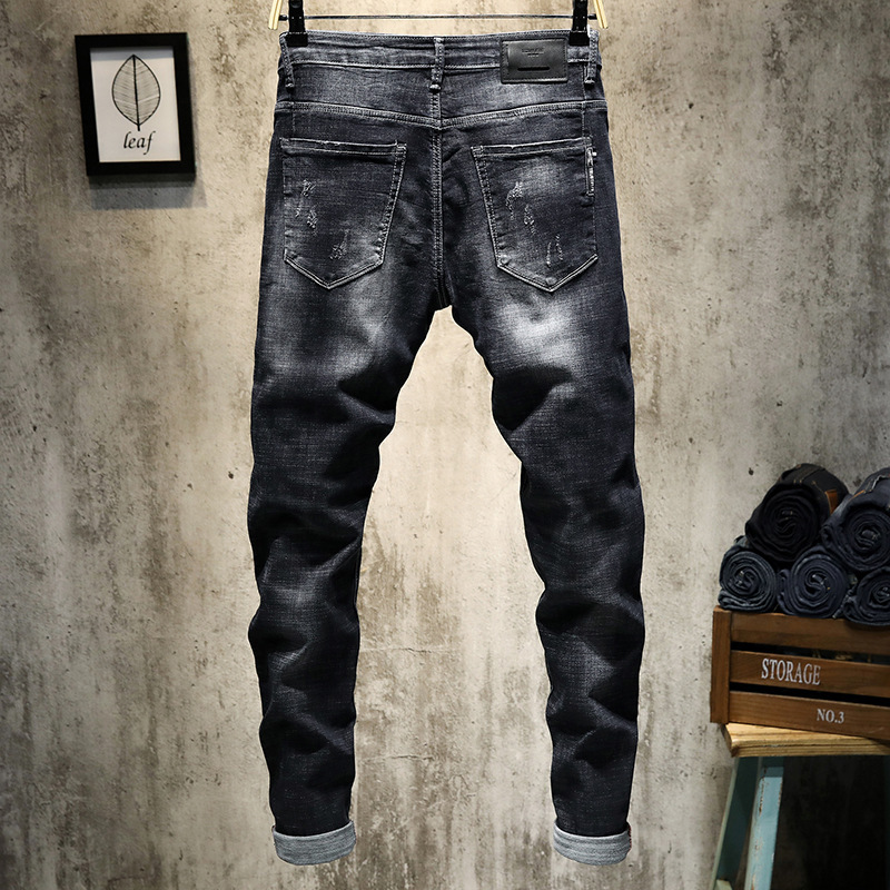 With Holes MEN'S Jeans Men's New Style Slim Fit Thin Korean-style Men'S Wear Popular Brand Pants Skinny Large Size Fat