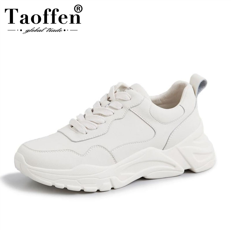 Taoffen Women Genuine Leather Sneakers Thick Sole Fashion Vulcanized Shoes Women Lace Up Daily Leisure Women Footwear Size 35-39