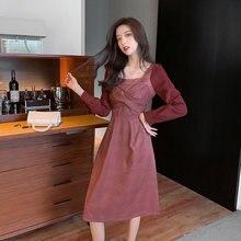 Женское винтажное платье с квадратным вырезом элегантное красное