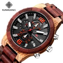 Handmade Wooden Watch Men Multifunction Chronograph Military Big Dial Sport