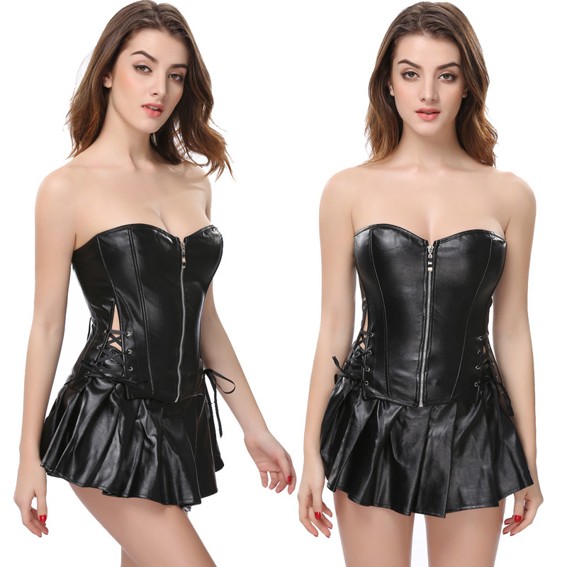 S-6XL Plus Size Lingerie Women Black Faux Leather Burlesque Steampunk Corset Dress Gothic PVC Corset Vest Bust 829