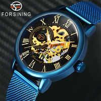 FORSINING mode décontracté montre mécanique hommes or squelette cadran bleu maille bracelet hommes montres Top marque de luxe montres
