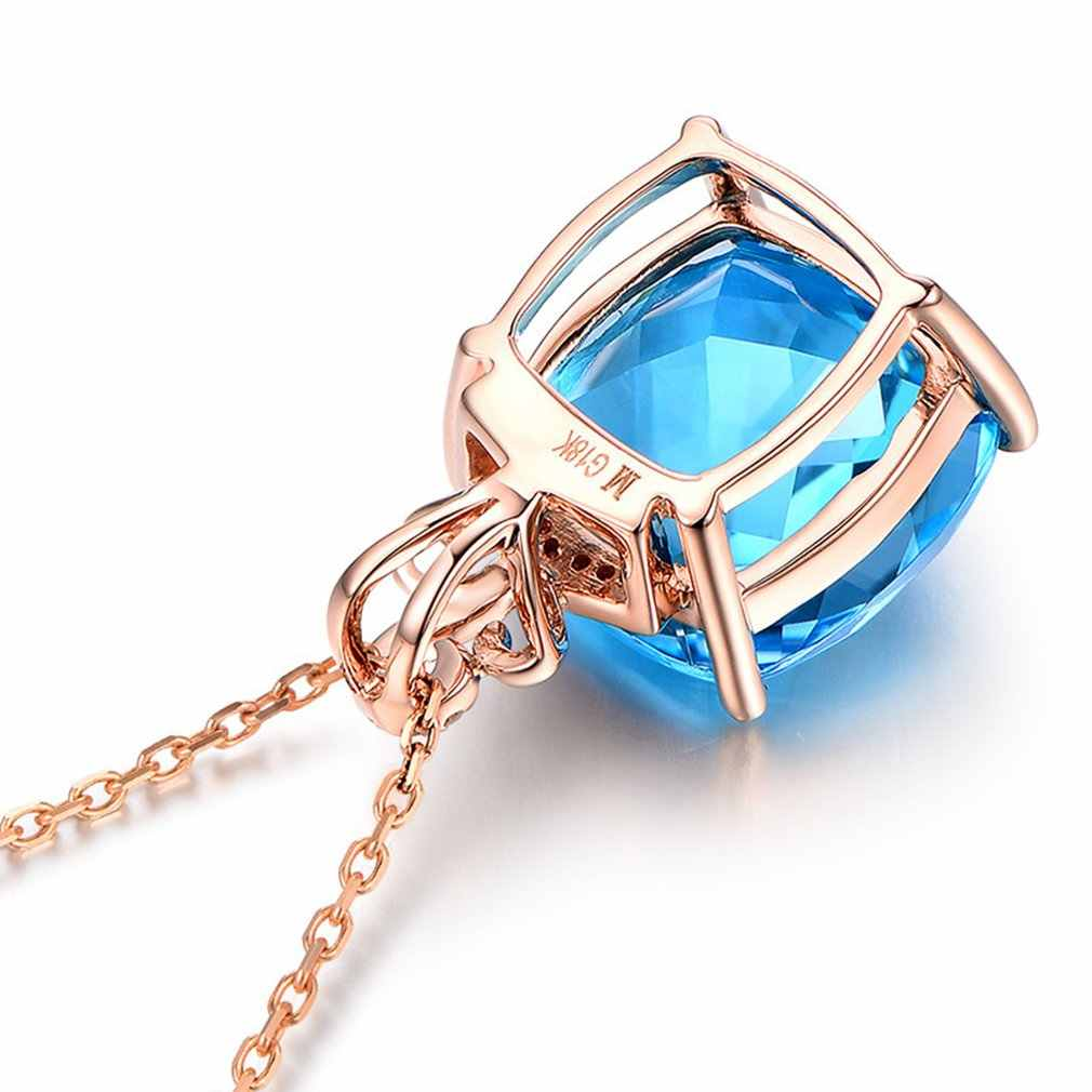 Imitasi Batu Biru Zirkon Wanita Indah Pesta Pertunangan Kalung Liontin untuk Wanita Pernyataan Perhiasan Hadiah