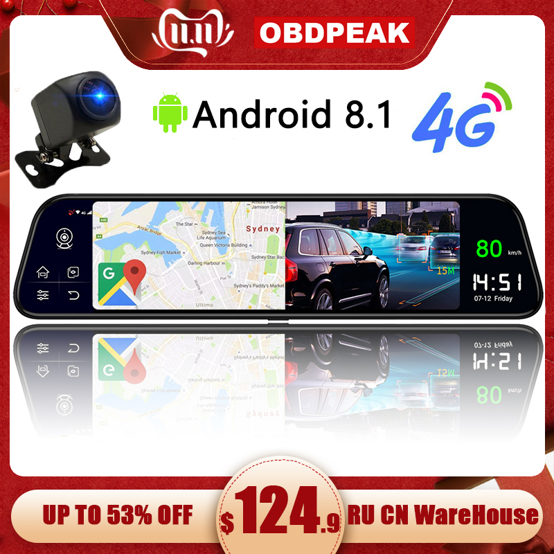Dual 1080P Dash Cam 4G 12 Inch Stream Media Android Mirror Car Rearview Mirror Car Dvr ADAS Super Night Before And After FHD