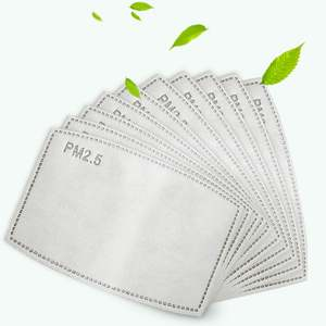 50PCS PM2.5 Filter 5 Layers Protective Mask for Adult Mask Mask Pads Activated Carbon Mask Filter Man and Woman 50pcs / Ba