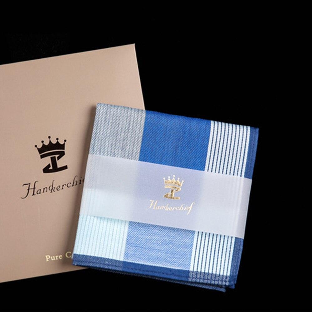 New Men Square Plaid 100% Cotton Sweat Handkerchiefs 43*43cm Men's Classic Pattern Vintage Pocket Hanky Hand Towel