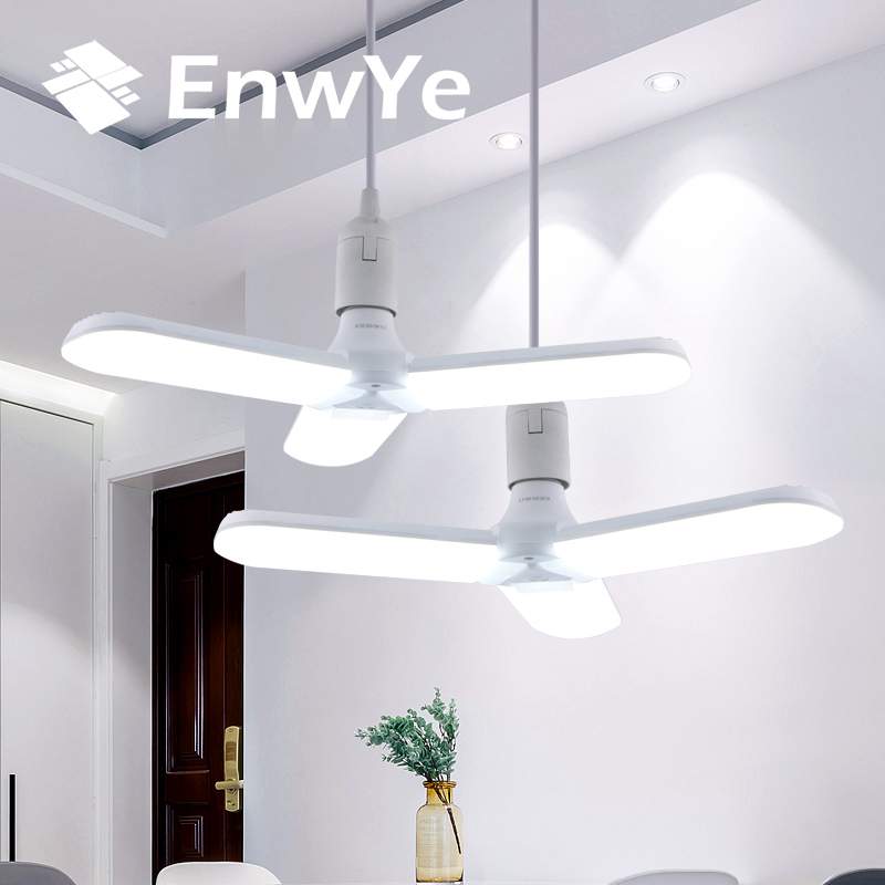 EnwYe LED Folding Leaf Lamp 30W 45W 60W E27 Light Super Bright Adjustable Angle Bulb For Indoor Parking Led Mining Lamp