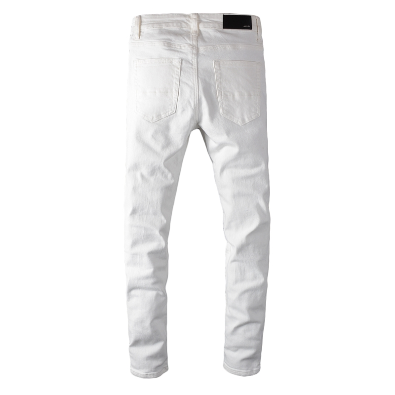 Tide Brand Spring 2020 New Men's Fashion Slim White Hole Patch Jeans Men's Stretch Skinny Small Jeans