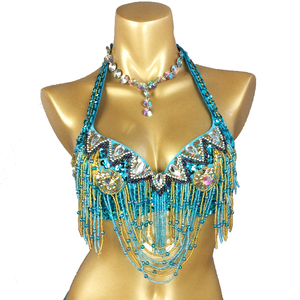 Image 5 - Free shipping new womens belly dance costume beading Sequin bra belly dancing clothes sexy night club Bellydance BRA TOPS