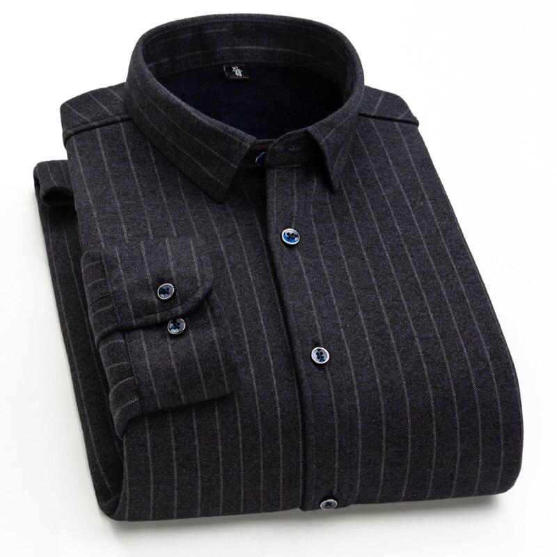 2019 Casual Men Shirt Thicken Winter Man Stripe Grid Plus Velvet Autumn Shirt Warm Soft Fit Men Top Y2020