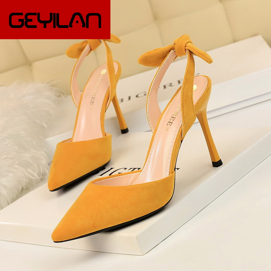 Korean fashion slim heel, super high heel, suede, shallow, pointed, hollowed-out, small bow-tied sandals