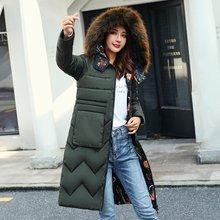 Женская Двухсторонняя куртка средней длины Зимняя парка с капюшоном