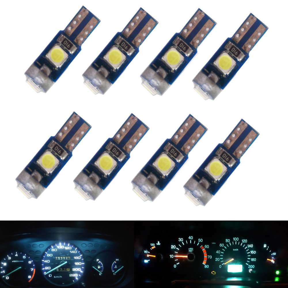 8pcs <font><b>12V</b></font> T5 wedge LED Light Car Dashboard Instrument Panel Lamp Bulb kit for <font><b>Mercedes</b></font> R129 W140 W163 R107 W124 R170 W208 image