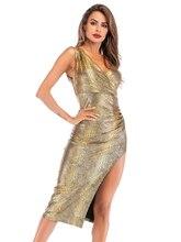 V-образным вырезом слинг Сексуальная Сплит вечернее платье змеиной кожи платье ночной клуб Seeveless коктейльные платье чай длина Vesyidos XUCTHHC де Фиеста