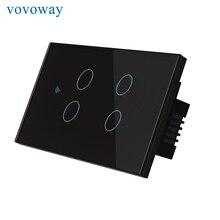 Vovoway US Interruptor táctil interruptor de luz de barra de pared para el hogar conexión de red wifi control de aplicación remota para teléfono móvil, AC110V 220V de 4 entradas