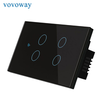 Сенсорный выключатель Vovoway US, домашний настенный выключатель, выключатель света, подключение к сети Wi Fi, телефон с дистанционным управлением через приложение, 4 клавиши