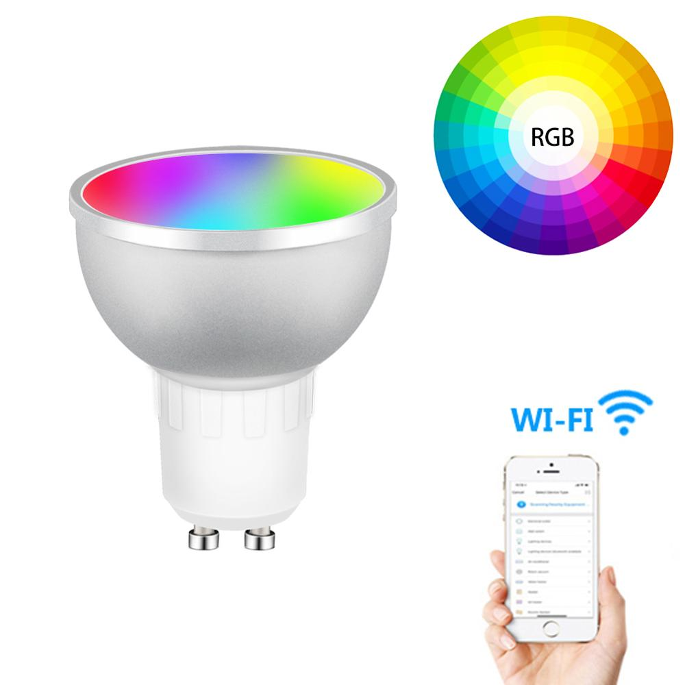 GU10 Wifi Smart Led Bulb RGBW 5W Lamp Remote Control 1/2/3/4 Pcs Dimmable Bombillas Tuya App Works With Alexa