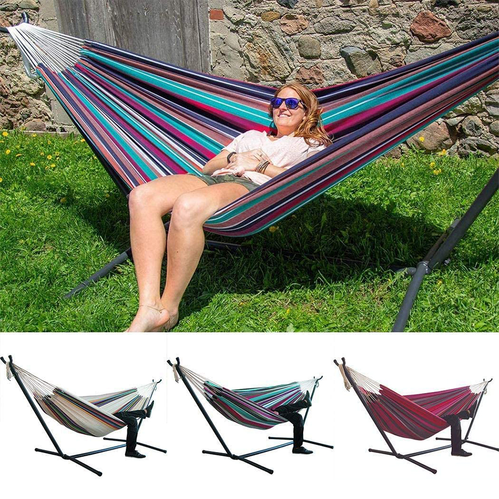 200x150cm Thicken Widened Foldable Portable Without Stand Large Hanging Stripe Garden Canvas Hammock For Bedroom Outdoor Camping