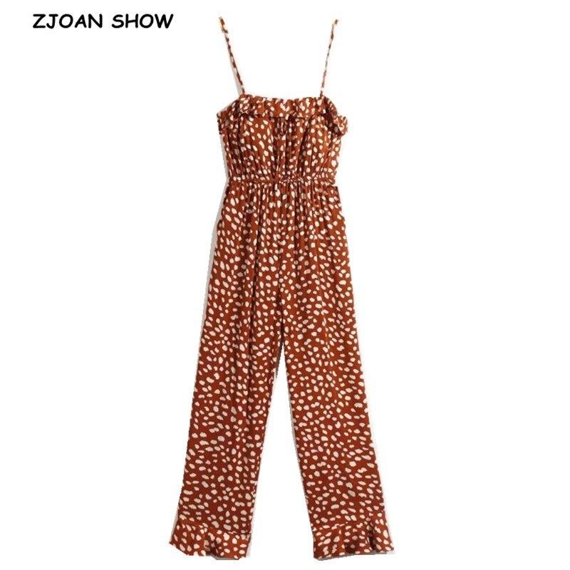 2020 V Neck Dot Print Jumpsuit Coffee Women Ruffles Lacing Up V Neck Spaghetti Strap Romper Leopard Full Length Pants Overalls
