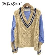 TWOTWINSTYLE Patchwork Hit kolorowy sweter dla kobiet V Neck swetry z długim rękawem koreańskie kobiece moda jesień ponadgabarytowych 2020 nowy