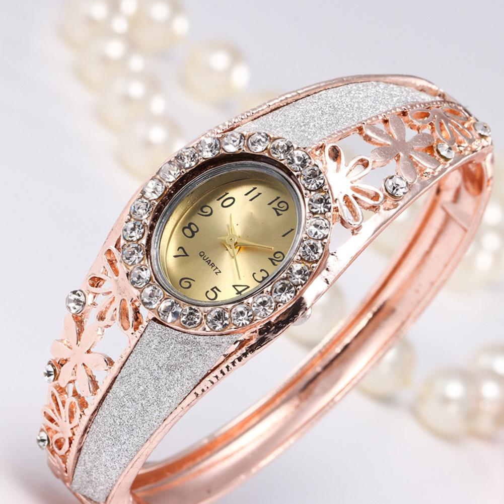 Luxury Women Watches Rhinestone Hollow Flower Band Oval Dial Analog Quartz Bangle Ladies Watch Montre Femme женские часы