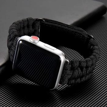 Survival Rope strap For apple watch 5 band 44 mm 40mm iWatch band 42mm 38mm Outdoors Leather clasp Bracelet iwatch 6 5 4 3 2 SE