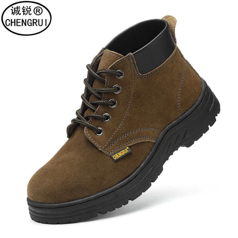 Custom Safety Shoes Work Site Safe Protective Shoes Suede Leather Puncture-Proof Anti-Damage Mid-top Work Shoes