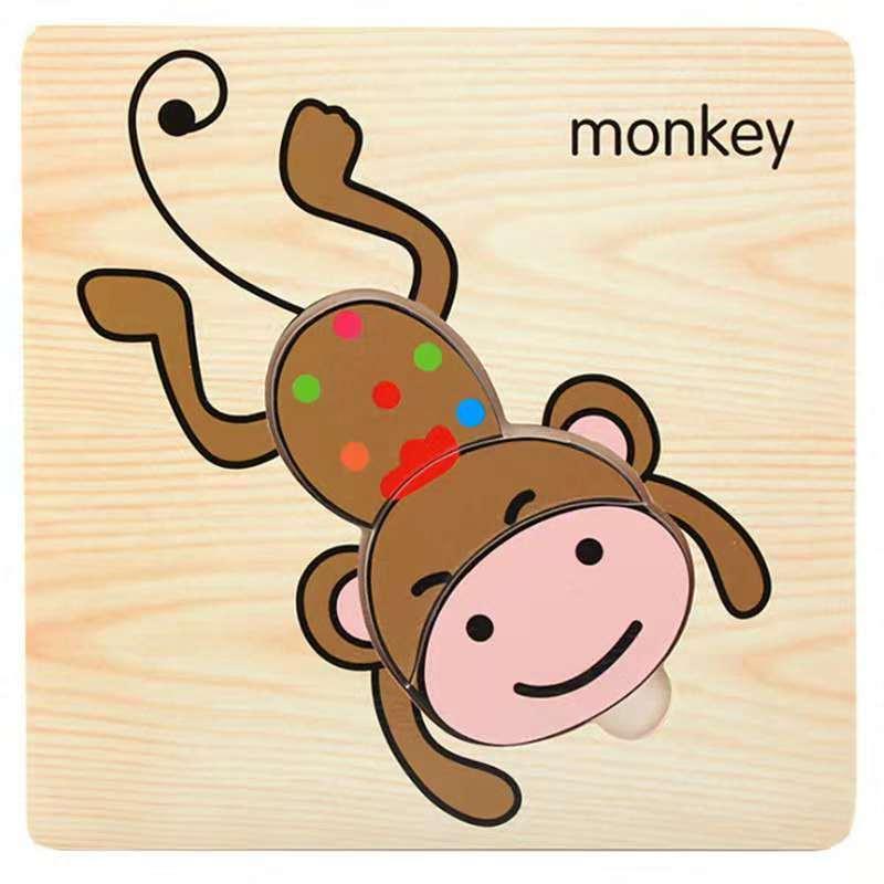 3D деревянные головоломки, игрушки для детей, Деревянные 3d Мультяшные головоломки с животными, интеллектуальные детские развивающие игрушки для детей - Цвет: Темно-синий